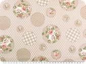 Nice cotton print, flowers and dots, pastel brown, 142-145cm