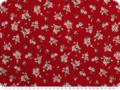 Cotton print, small flowers, red, 140cm
