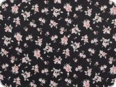 Cotton print, small flowers, black, 140cm