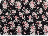 Nice cotton print, flowers, black, 140cm