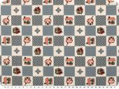 Nice cotton print,  dots-hearts-huts, blue grey, 142-145cm