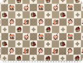 Nice cotton print,  dots-hearts-huts, mud, 142-145cm