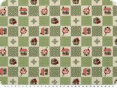 Nice cotton print,  dots-hearts-huts, fern green, 142-145cm