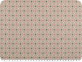 Cotton poplin, hearts and flowers, pastel brown, 142cm