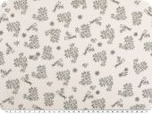 Cotton print with dots, birds and flowers, light grey, 140cm