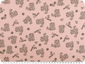 Cotton print with dots, birds and flowers, rose, 140cm