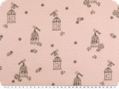 Cotton print with dots,  bird and cage, rose, 140-145cm