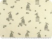 Cotton print with dots,  bird and cage, ecru, 140cm