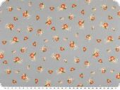 Cotton poplin, flowers, light grey-orange, 140cm