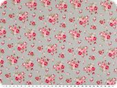Cotton poplin, medium sized  flowers, light grey-red, 140cm