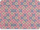 Cotton poplin, flowers-circles, pink-blue-brown, 142cm