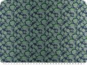 Fashionable jacquard fabric, flowers, blue- green, 155cm