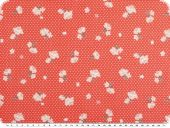 Cotton print, dots and flowers, light red, 140cm