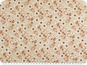 Mathilda's  cotton print,  flowers, beige, 142cm