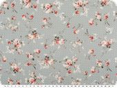Mathilda's quality poplin, roses, light grey, ca. 145cm