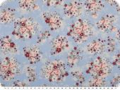 Mathilda's quality poplin, flowers, light blue, ca. 145cm