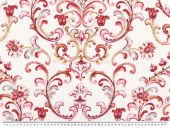Deco fabric, flowers and tendrills, ecru-red, 140cm