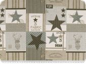 Deco fabric, double tissue, stars & stripes, ecru-brown-grey