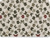 Jacquard deco fabric, flowers, ecru-grey-red, 140cm