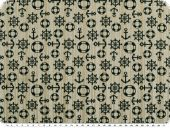 Jacquard deco fabric, shipping, beige-blue, 140cm