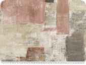 Deco fabric, painted rectangles, grey-old rose, 140cm