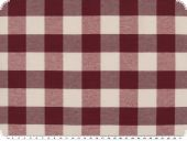 Table cloth fabric, big checks, dark red-white, 140cm