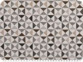 Deco fabric, jacquard, small  triangles,ecru-brown, 140cm