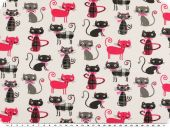 Printed cotton fabric, cats, white-pink-grey, 160cm