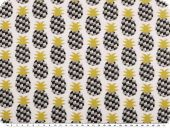 Printed cotton fabric, pineapples, ecru-grey-mustard,160cm