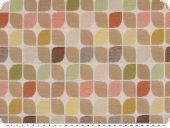 Deco fabric, jacquard, geom. patter, ecru-multicolour, 140cm