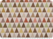 Deco fabric, jacquard, triangles, ecru-multicolour, 140cm