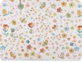 Digital satin-deco fabric, birds and flowers