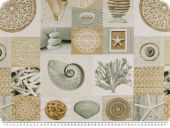 Deco fabric, digital print, shellfish, patch, white-brown