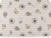 Deco fabric, digital print, fish and shells, white-brown