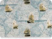 Twill deco fabric, nautic world map, 140cm