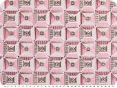 Deco fabric, checks and triangles, grey-rose, 140cm