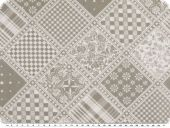 Deco fabric, flower-checks-patch, mouse grey-white, 140cm
