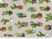 Deco fabric, cactuses in pots, grey-green, 140cm