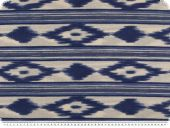 Deco fabric, aztec, white-blue, 140cm