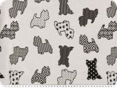 Jacquard deco fabric, dogs, reversible, black and white