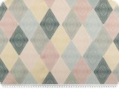 Deco fabric, digital print, pastel-coloured diamonds, 140cm