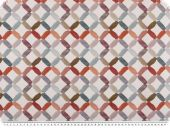 Deco fabric, digital print, grid, brown-colourful, 140cm