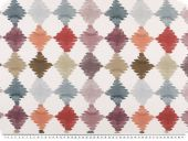 Deco fabric, digital print, diamonds, brown-multicolour