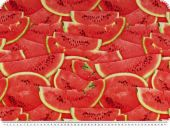 Deco fabric, digital print, melons, red, 140cm