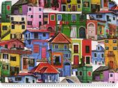 Panama deco fabric, colourful houses, digital print, 140cm