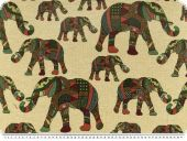 Deco fabric, jacquard, colourfull elephants, 140cm