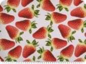 Deco fabric, digital print, red strawberries, white-red, 140