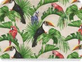 Deco fabric, tucans, parrots and palm trees, 140cm