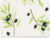 Cotton fabric, printed with olives, white, app. 160cm