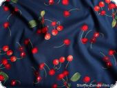 Cotton fabric cherrys, on navy, ca. 140cm